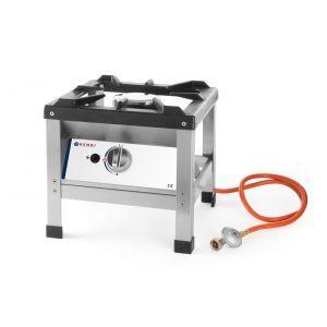 Aragaz portabil pentru exterior, alimentare gaz, 6.4 kW, inox, aprindere electronica, Kitchen Line, 425x425x(H)400mm