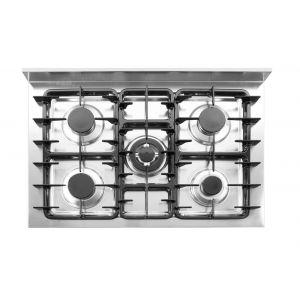 Aragaz profesional, 5 arzatoare pe gaz si cuptor electric, 14,3kw, 900x655x(H)850/900