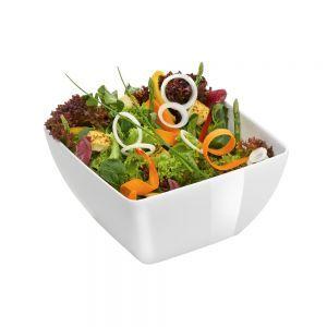 Bol patrat pentru salata 130x130x65 mm, alb, melamina,