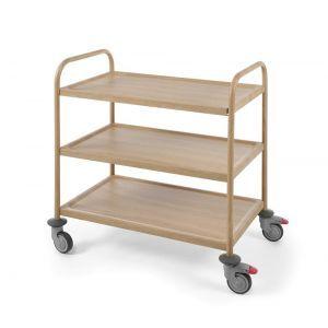 Carucior servire cu 3 rafturi, din inox cu aspect lemn stejar, sarcina un raft 50 kg, 4 roti pivotante, dimensiuni 910x590x(H)950 mm