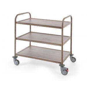 Carucior servire din inox cu 3 rafturi cu aspect de lemn stejar inchis, sarcina un raft 50 kg, 4 roti pivotante, dimensiuni 91X59X(H)95 cm