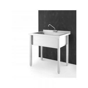 Chiuveta profesionala de bucatarie cu suport inclus, Revolution By Hendi, Inox, 800x600x (H) 850 mm