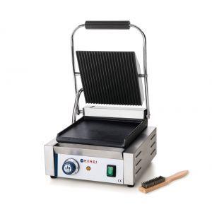 Contact grill profesional, 2200W, corp inox, termostat 300 gr C, placi fonta cu invelis ceramic, partea superioara striata / cea inferioara neteda, suprafata grill 34 x 23 cm, 43x37x(H)21 cm