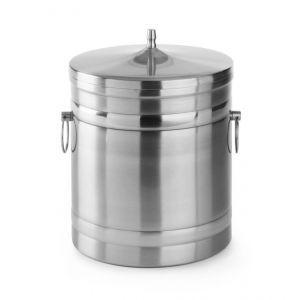 Container pentru gheata cu pereti dubli si capac, 20x(H)23 cm, 5 lt, inox,