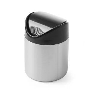 Cos pentru gunoi masa, otel inoxidabil cu capac din plastic negru, Hendi