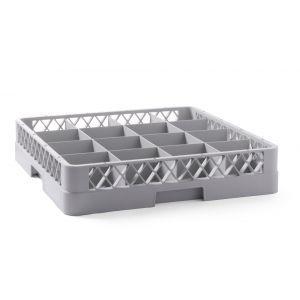Cos universal pentru masina de spalat vase, polietilena, Gri, 16 compartimente 500x500x(H)100 mm