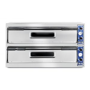 Cuptor profesional pizza Basic Slim Line Inox 2 camere 12000 W interval temperatura 50°C to 500°C 2x1080x410x(H)140 mm