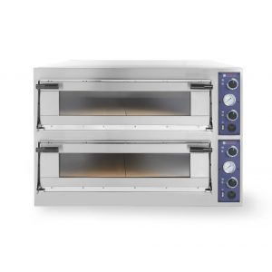 Cuptor profesional pizza Trays 44 Glass 2 camere 13800 W interval de temperatura de la 50°C la 500°C 2x 820x840x(H)175 mm