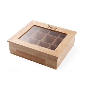 Cutie pentru pliculete ceai, 12 compartimente, 300x280x(H)90 mm, cadru lemn, capac transparent,