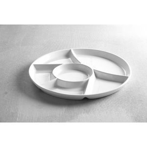 Farfurie servire cu 6 sectiuni, diametru 28 cm, portelan super-rezistent, alb stralucitor, 28 cm x (H) 2 cm,