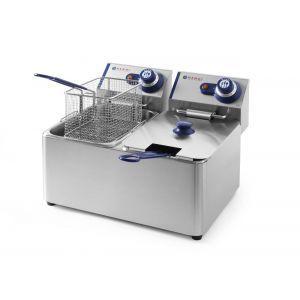 Friteuza Blue Line, 2x3000 W, 2x4 L, Temperatura reglabila pana la 190 °C, Termostat, Argintiu