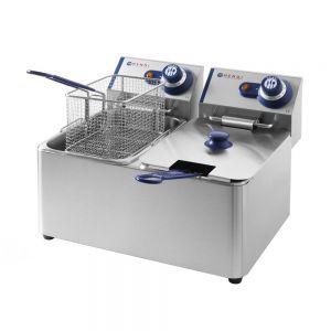 Friteuza Blue Line, 2x3500 W, 2x8 L, Temperatura reglabila pana la 190 °C, Termostat, Argintiu