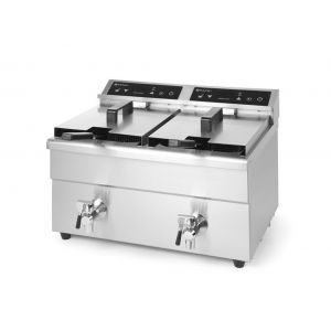Friteuza dubla cu inductie 2x8 lt, corp inox, 2x3500W, Kitchen Line, functie boost pentru incalzire rapida, 580x485x(H)406 mm
