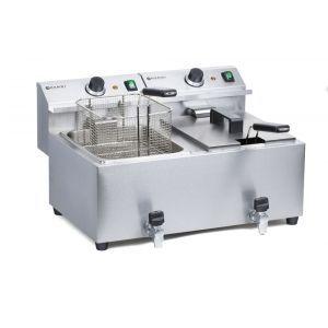 Friteuza electrica profesionala dubla 2x8 lt, cu robinet scurgere ulei, 7000 W, inox, MasterCook