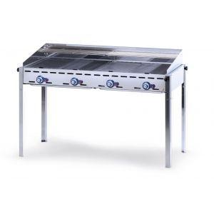 Grill barbecue - Green Fire - 4 arzatoare - alimentare gaz - pe suport cu roti