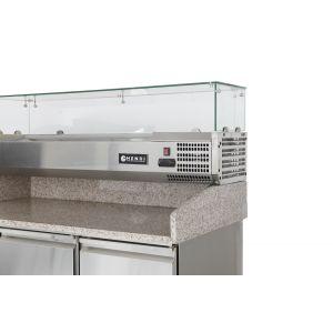 Masa frigorifica cu 3 usi, pentru pizza, cu vitrina ingrediente cu 6 tavi GN 1/4, 270+170 W, ARKTIC by, 140x70x(H)144.5 cm