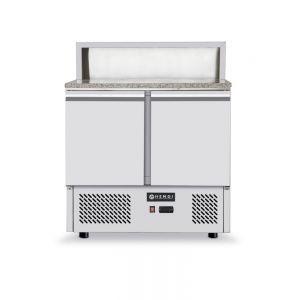 Masa refrigerata pentru pizza cu top granit, ARKTIC by, camera racire cu usi duble, display cu 5 tavi GN 1/6, interval temperatura 2/10 gr C
