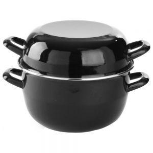 Oala, pentru sos, cu capac, emailata, cu margini otel inoxidabil, 0,8 l, ø12,5x9/14,5 cm
