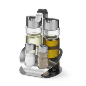 Oliviera 4 piese, recipiente sticla&inox, pentru: sare, piper, ulei, otet