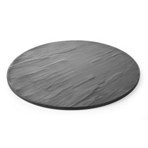 Platou rotund servire, din melamina cu aspect ardezie, 430x(H)7 mm