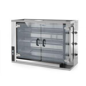 Rotisor gaz profesional pentru 12 - 15 pui 3 viteze de rotatie 1150x472x(H)795 mm Inox