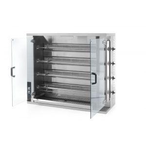 Rotisor gaz profesional pentru 16 - 20 pui 4 viteze de rotatie 1150x472x(H)981 mm Inox