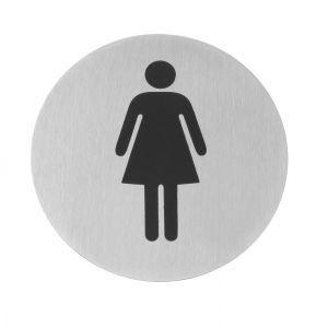 Semn pentru usa - Femei - 75 mm, inox, Hendi