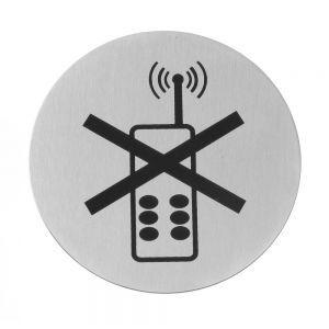 Semn pentru usa - Folosirea telefonului mobil interzisa - 75 mm, otel inoxidabil