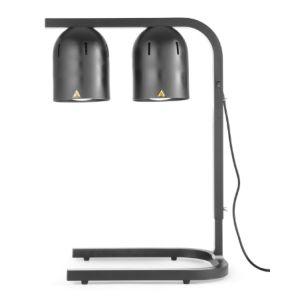 Set 2 lampi cu infrarosu si suport pentru incalzire alimente, 500 W, Negru