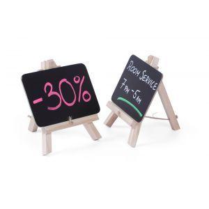 Set 2 x Tabla meniu pentru masa, suport lemn, 148x97 mm,