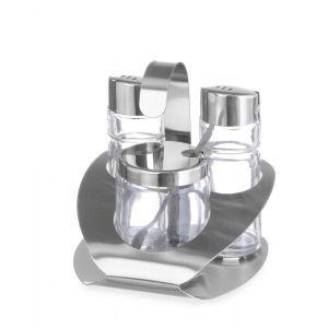 Set 3 recipiente condimente, otel inoxidabil, 100x95x(H)115 mm