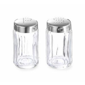 Set 6 bucati Solnita pentru sare si piper, recipient din sticla, 40x70 mm