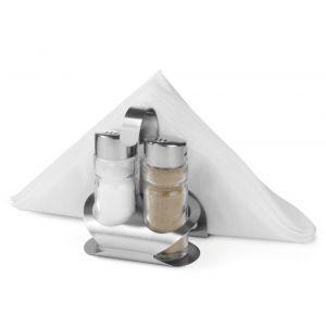 Set condimente/oliviera, 3 piese: sare, piper, suport servetele