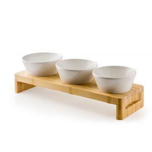 Set cu suport pentru servire din bambus si 3 Boluri și colandere melamina incluse, 40x13x(H)6 cm