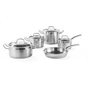 Set promotional 9 piese, 5 oale profesionale + 4 capace, Kurt Scheller Edition, inox 18/10