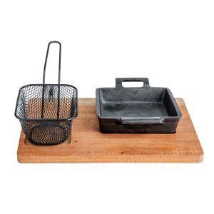 Set servire compus din suport lemn, tava si cos Cosy & Trendy by 27 x 20 cm