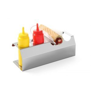 Stand pt 5 recipiente mustar / ketchup / sosuri de 0.70 lt, inox, 530x110x(H)118 mm