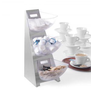 Suport etajat pentru servire zahar, lapte cafea, 3 compartimente, 190x240x(H)410
