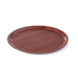 Tava pentru servire, imitatie lemn rotunda, cu margine joasa 380 mm