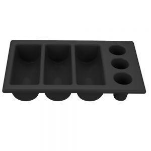 Tava pentru tacamuri, polietilena neagra, 6 sectiuni, 530x325x(H)105 mm