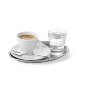 Tava servire cafea si aperitive, din inox, ovala, 28.5 x 22 cm,