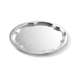 Tava servire ovala, otel cromat cu margini decorate, 31x23 cm