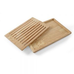 Tocator mare paine, 475x322 mm, din lemn cu gratar detasabil, cu 4 picioruse anti-alunecare,