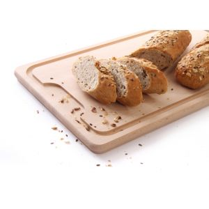Tocator masiv cu sant de scurgere, lemn de fag, 390x230x(H)16 mm,