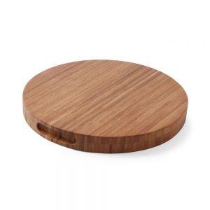 Tocator masiv, rotund, din lemn de bambus, diametru 40 cm, grosime 3.5 cm,