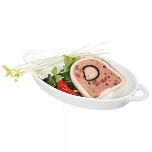Vas aperitive oval, 165x105x30 mm, portelan alb termorezistent pana la 600 gr C