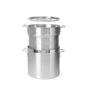 Vas pentru fierbere galuste, orez si paste - cu cos fierbere si capac 360 mm, 18 lt, aluminiu, grosime 4 mm, manere nituite, gama Budget Line