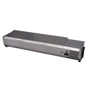 Vitrina frigorifica tip display Inox pentru containere GN 1/3 cu o inaltime maxima de 150 mm 8x GN1/3 180 W